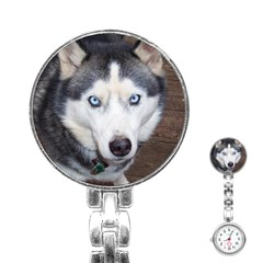 Siberian Husky Blue Eyed Stainless Steel Nurses Watch