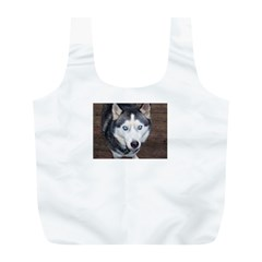 Siberian Husky Blue Eyed Full Print Recycle Bags (L)