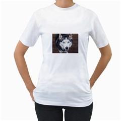 Siberian Husky Blue Eyed Women s T-Shirt (White)