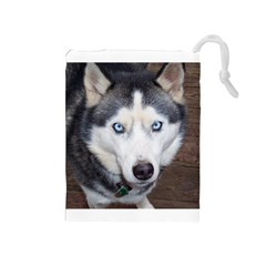Siberian Husky Blue Eyed Drawstring Pouches (Medium)
