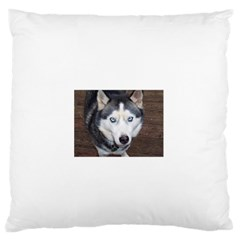 Siberian Husky Blue Eyed Large Flano Cushion Case (One Side)