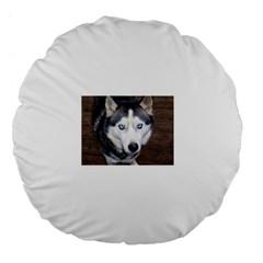 Siberian Husky Blue Eyed Large 18  Premium Flano Round Cushions
