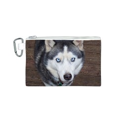 Siberian Husky Blue Eyed Canvas Cosmetic Bag (S)