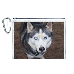 Siberian Husky Blue Eyed Canvas Cosmetic Bag (L)