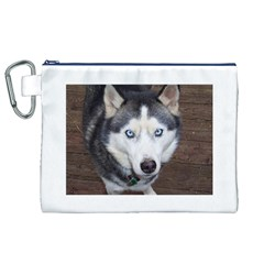 Siberian Husky Blue Eyed Canvas Cosmetic Bag (XL)