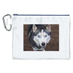 Siberian Husky Blue Eyed Canvas Cosmetic Bag (XXL)