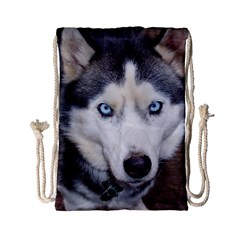 Siberian Husky Blue Eyed Drawstring Bag (Small)