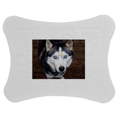 Siberian Husky Blue Eyed Jigsaw Puzzle Photo Stand (Bow)