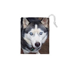 Siberian Husky Blue Eyed Drawstring Pouches (XS)