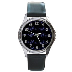 Xmas elegant blue snowflakes Round Metal Watch