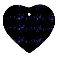 Xmas elegant blue snowflakes Ornament (Heart)
