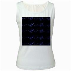 Xmas elegant blue snowflakes Women s White Tank Top