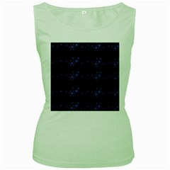 Xmas elegant blue snowflakes Women s Green Tank Top
