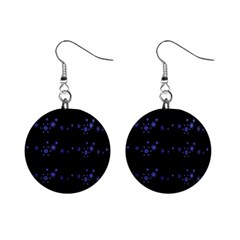 Xmas elegant blue snowflakes Mini Button Earrings