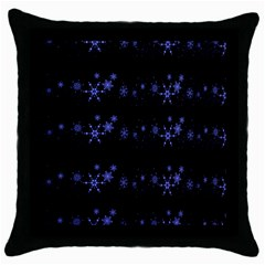 Xmas elegant blue snowflakes Throw Pillow Case (Black)