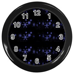 Xmas elegant blue snowflakes Wall Clocks (Black)