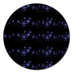 Xmas elegant blue snowflakes Magnet 5  (Round)