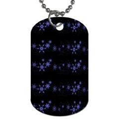 Xmas elegant blue snowflakes Dog Tag (Two Sides)