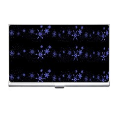 Xmas elegant blue snowflakes Business Card Holders