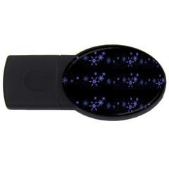 Xmas elegant blue snowflakes USB Flash Drive Oval (1 GB)