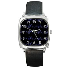 Xmas elegant blue snowflakes Square Metal Watch