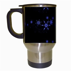 Xmas elegant blue snowflakes Travel Mugs (White)