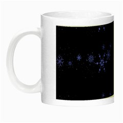 Xmas elegant blue snowflakes Night Luminous Mugs