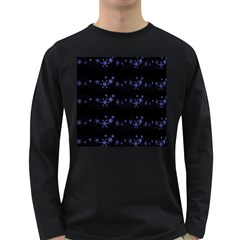 Xmas elegant blue snowflakes Long Sleeve Dark T-Shirts