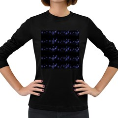 Xmas elegant blue snowflakes Women s Long Sleeve Dark T-Shirts