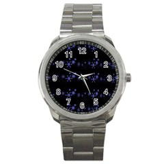 Xmas elegant blue snowflakes Sport Metal Watch