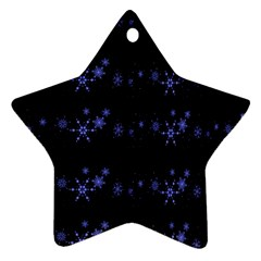 Xmas elegant blue snowflakes Star Ornament (Two Sides)