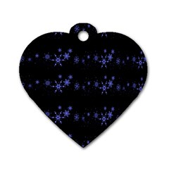 Xmas elegant blue snowflakes Dog Tag Heart (One Side)
