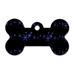 Xmas elegant blue snowflakes Dog Tag Bone (Two Sides)