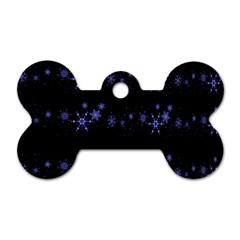 Xmas elegant blue snowflakes Dog Tag Bone (Two Sides)