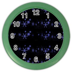 Xmas elegant blue snowflakes Color Wall Clocks