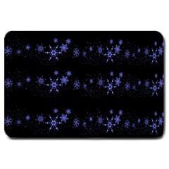 Xmas elegant blue snowflakes Large Doormat