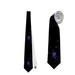 Xmas elegant blue snowflakes Neckties (One Side)
