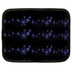 Xmas elegant blue snowflakes Netbook Case (Large)