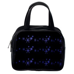 Xmas elegant blue snowflakes Classic Handbags (One Side)