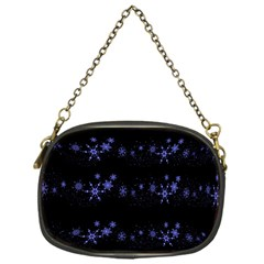 Xmas elegant blue snowflakes Chain Purses (One Side)