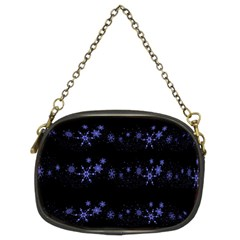Xmas elegant blue snowflakes Chain Purses (Two Sides)