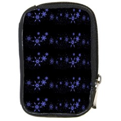 Xmas elegant blue snowflakes Compact Camera Cases