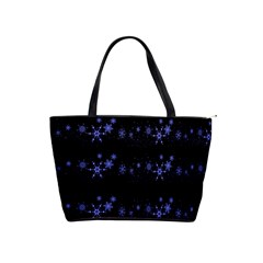 Xmas elegant blue snowflakes Shoulder Handbags