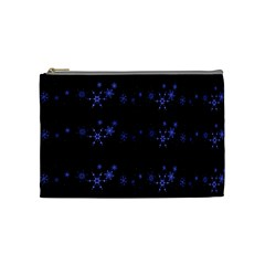 Xmas elegant blue snowflakes Cosmetic Bag (Medium)