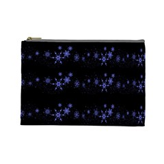 Xmas elegant blue snowflakes Cosmetic Bag (Large)