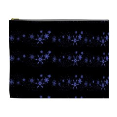 Xmas elegant blue snowflakes Cosmetic Bag (XL)