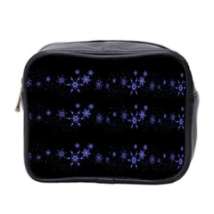 Xmas elegant blue snowflakes Mini Toiletries Bag 2-Side