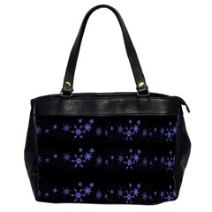 Xmas elegant blue snowflakes Office Handbags (2 Sides)