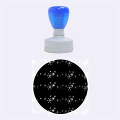Xmas elegant blue snowflakes Rubber Round Stamps (Medium)