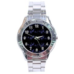 Xmas elegant blue snowflakes Stainless Steel Analogue Watch